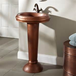 Pedestal Sink And Faucet Oval Hammered Copper Pedestal Sink No Faucet Holes Ebay