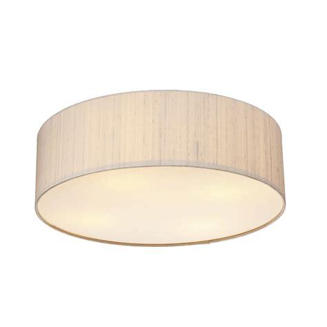 Flush Ceiling Lights Uk Dar Lighting Paolo 500mm Silk Semi Flush Ceiling Light With Silk Shade In Taupe Fitting Type