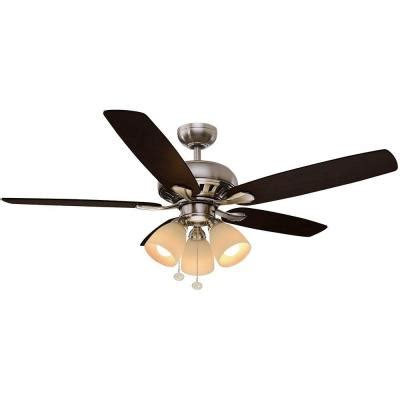lights and ceiling fans hton bay rockport 52 in led brushed nickel ceiling fan