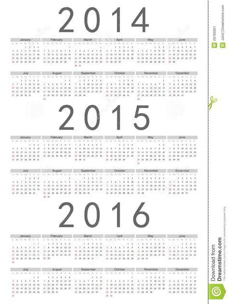 2014 2015 2016 2017 year vector calendars stock vector