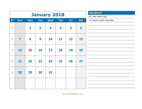 Calendar Of January 2018 January 2018 Calendar Word Monthly Calendar 2017