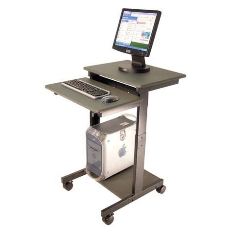 Desk Top Height by Mobile Adjustable Height Computer Workstation 36 To 45