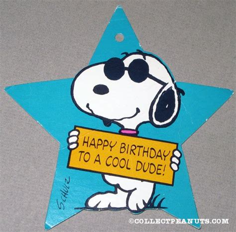 Happy Birthday Dude Wishes Peanuts Gift Tags Collectpeanuts Com
