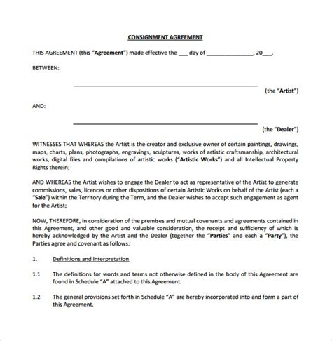 sle consignment agreement 7 documents in pdf word