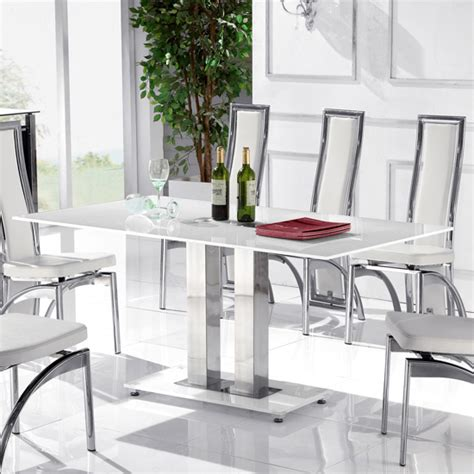 romano ii small white glass dining table only 15746