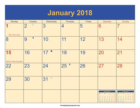 2018 print free calendar