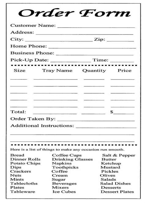 Catering Or Carryout Form Used For Online Ordering And The Collection Payment Food Restaurant Food Order Form Template Free