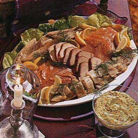 christmas eve buffet menu ideas smoked fish with mustard dill and caper sauce recipe epicurious