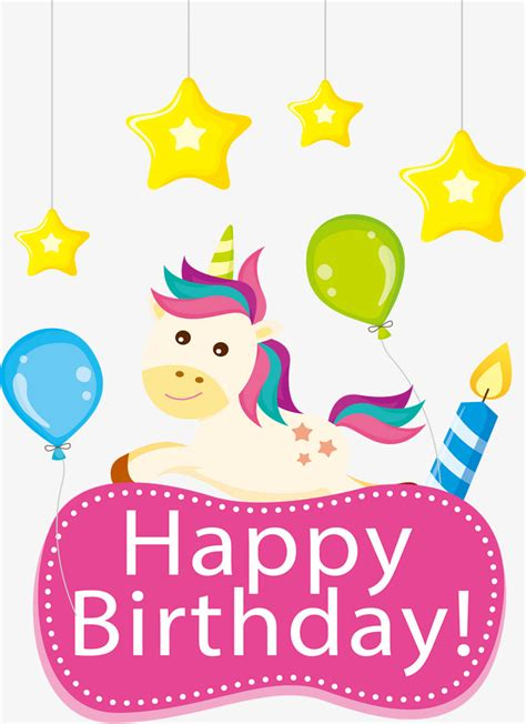 imagenes de cumpleaños unicornio unicorn birthday card vector png happy birthday