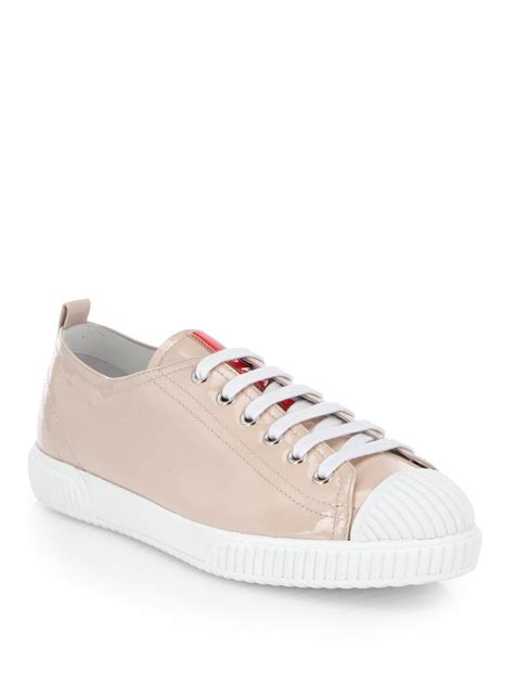 prada patent leather lace  sneakers  pink lyst