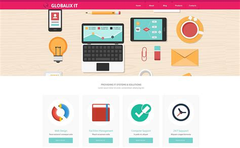 design themes support information technology website template