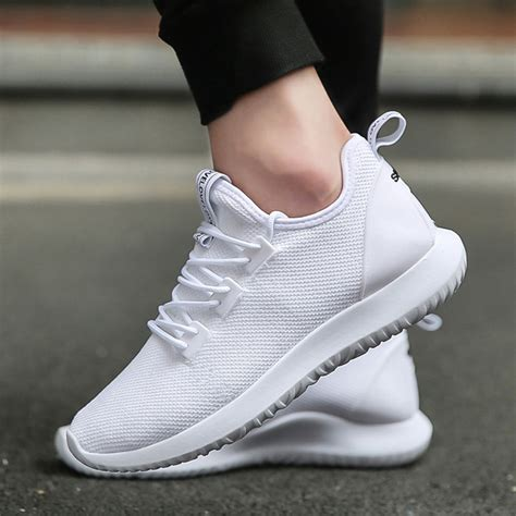 best white sneakers mens light weight running shoes sport shoes smart chip