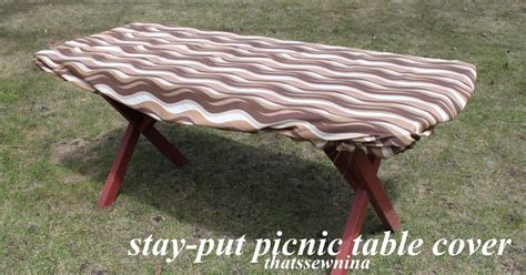 thatssewnina great idea a stay put picnic table cover