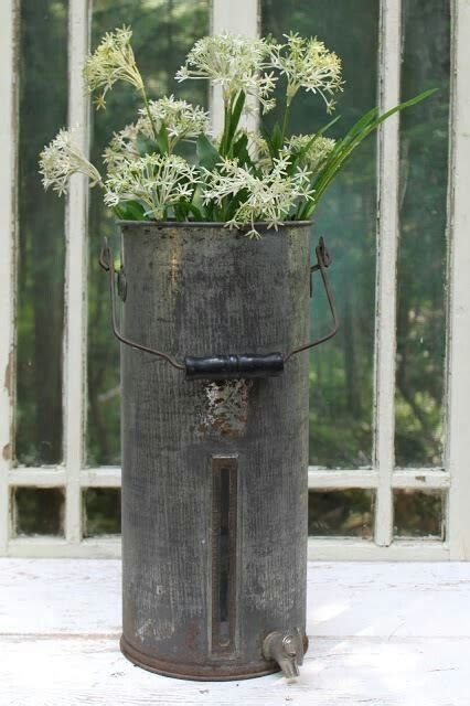 galvanized tall bucket  flowers collectibles