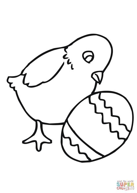 easter chick with egg coloring page free printable