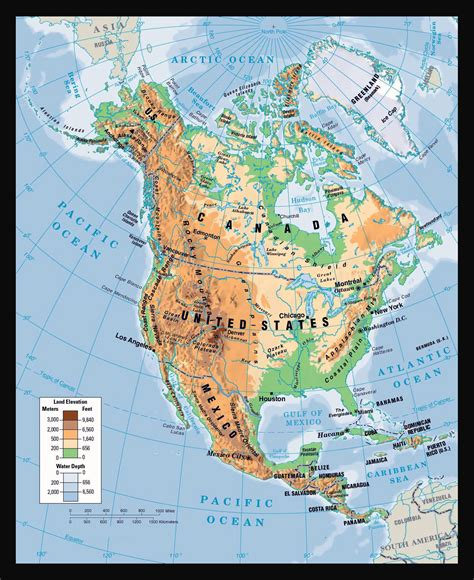 physical map of america physical map of america images