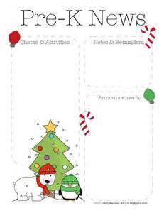 the crafty teacher christmas pre k newsletter template