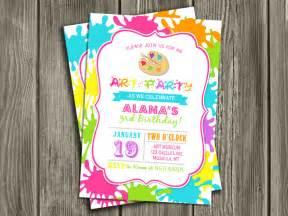 printable modern art party birthday invitation paint splatter painting party free thank