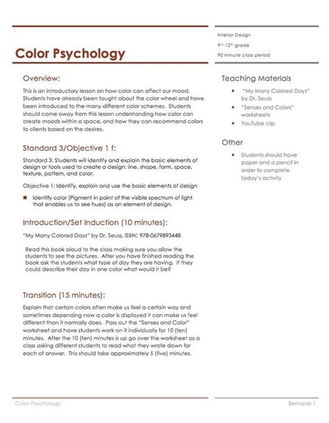 interior design lesson plans color psychology lesson plan housing interior design