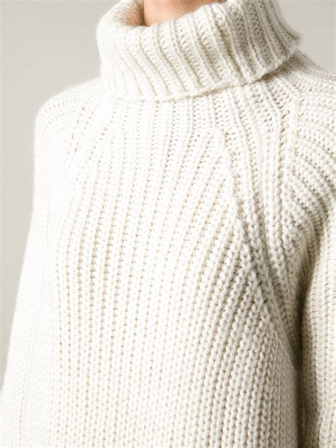 Chunky Knit Sweater lyst carin wester chunky knit sweater in white