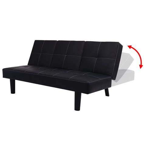 Vidaxl Sofa Bed With Drop Down Table Artificial Leather Sofa Bed Table