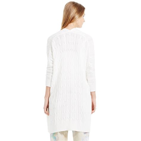 white knitted cardigan polo ralph cable knit cotton cardigan in white lyst