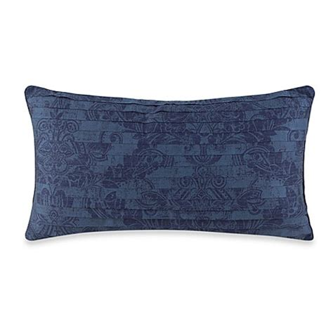 charisma bed pillows charisma como oblong toss pillow in navy blue bed bath