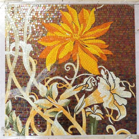 Mosaic Wall Murals factory sale flowers glass mosaic cutting backsplash