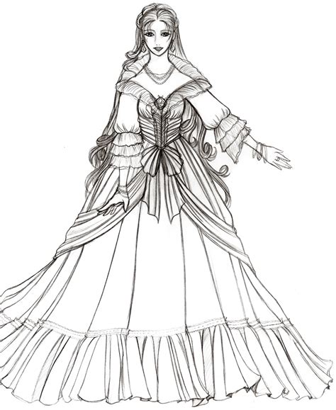 renaissance princess coloring pages by onyrica on deviantart