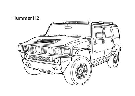 hummer drawing car hummer h2 coloring page cool car printable free