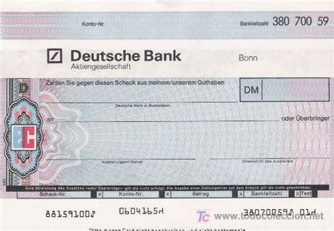 deutsche bank cheque eurocheque deutsche bank comprar en todocoleccion 22008642