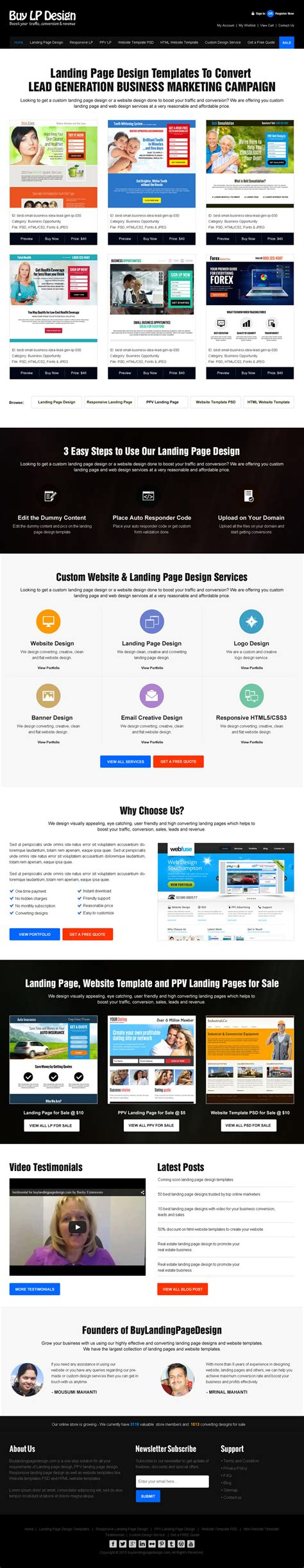 the best mobile responsive landing page design selling website