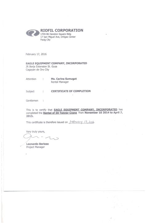 sle of certificate of completion and compliance cash