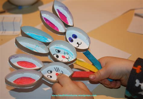 Easter Toilet Paper Roll Crafts - easter bunny stick puppets healthfromhome