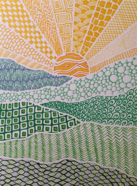 pattern and texture art lessons zentangle landscape zentangle pinterest sun mosaics