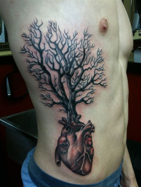heart tree tattoo and tree rib tattoos