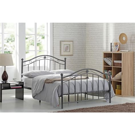 Size Metal Headboard And Footboard by Hodedah Black Silver Size Metal Panel Bed With