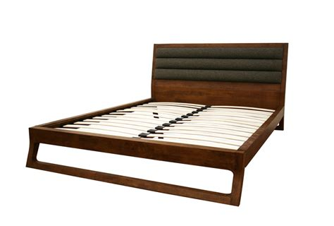 mid century modern queen bed hazel brown twill headboard mid century modern queen