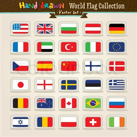 flags of the world to draw vector hand draw world flags icon set stock vector