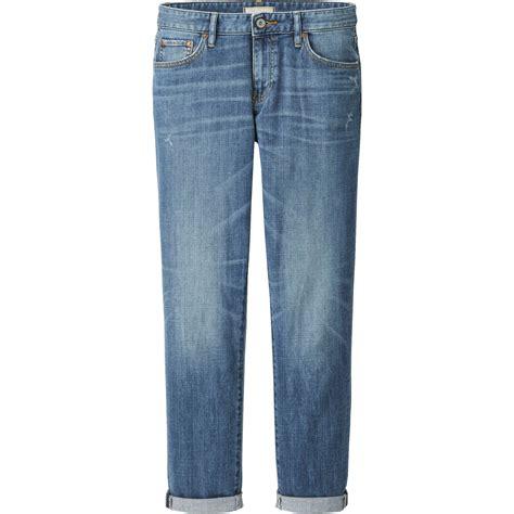 Ankle Length Khakis By Gap Boyfriend uniqlo blue slim boyfriend fit ankle length lyst
