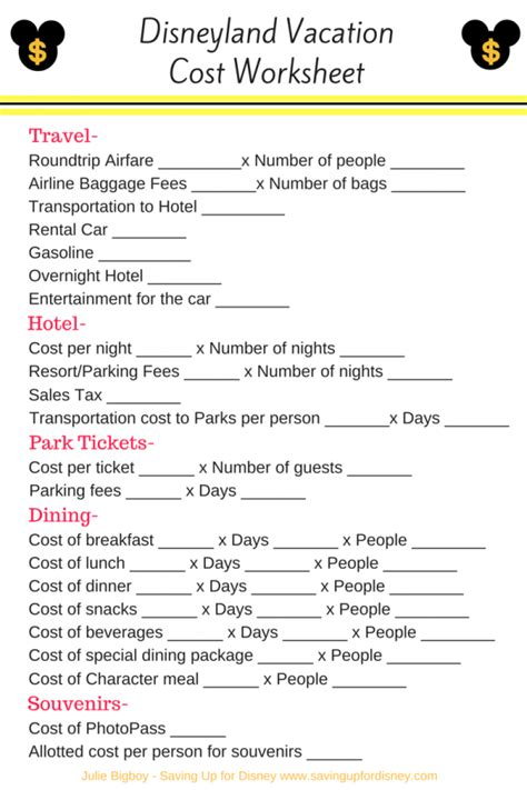 printable disneyland vacation planner how much will your disneyland vacation cost disneyland
