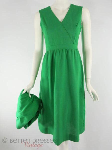 Set Cropped Jacket A Line Dress vintage 1970s dress and cropped jacket set in green