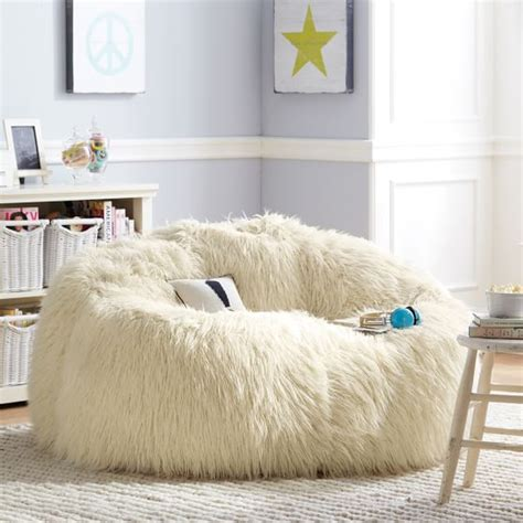 furry sofa ivory furlicious faux fur cloud couch pbteen