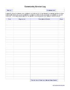 Community Service Log Students Must volunteer hours log sheet template what