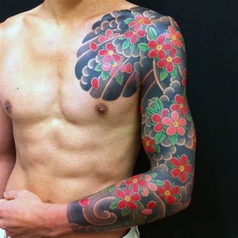 mens flower tattoos mens flower sleeve designs creativefan