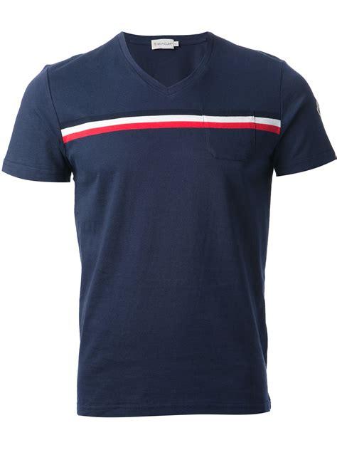 Blue Stripe T Shirt lyst moncler stripe tshirt in blue for
