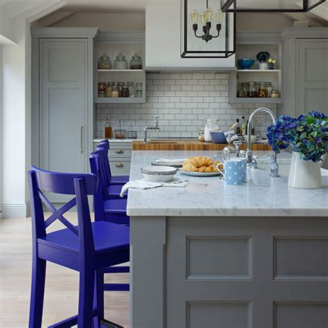 Shaker Kitchen Colour Schemes by Traditional Grey And Blue Shaker Kitchen Decorating