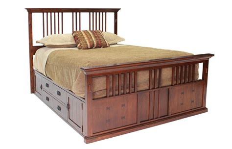 Captain Beds Queenmor Furniture For Less San Mateo Oak Queen Spindle Captains Bed Qeei