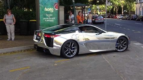 lexus wrapped lexus lfa wrapped in chrome launching exhaust sound is
