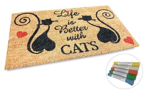 zerbino welcome zerbino in fibra naturale di cocco disegnato con gatti e